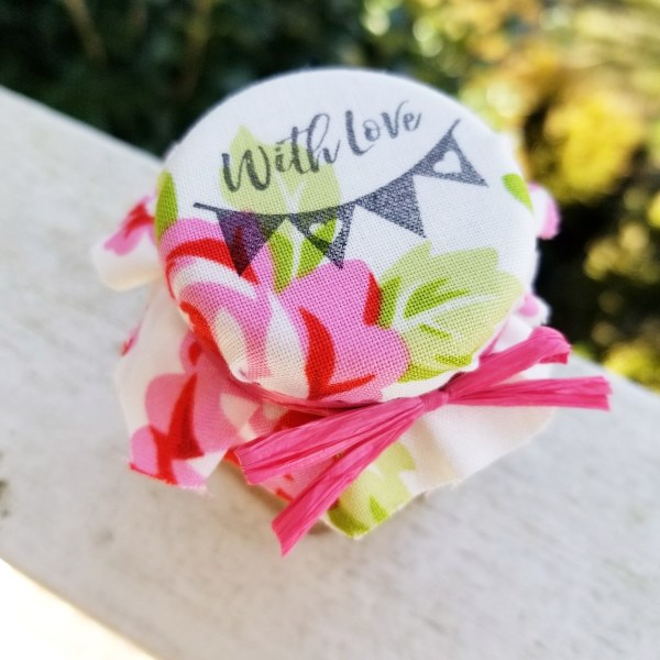 Jam Favors with Stamped Fabric Toppers